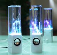 achat en gros de conduit l'eau de danse usb-Dancing Water Speaker Musique Audio 3.5MM Player LED Light 2 en 1 USB Mini Colorful Water Drop Show Fountain Haut-parleurs DHL