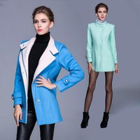 wool fabric coat - Chinese women s boutique spring wool coat stand collar long sleeved zipper placket woman grade fabric coat colors M XL
