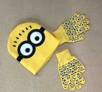 Wholesale Despicable Me Minions Knitted Hats And Gloves Sets Hot Sale Cartoon Winter Kids Girls Boys Woolen Caps Gloves Children Christmas Gift