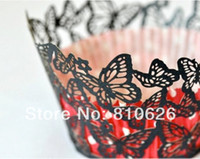 Wholesale 120pcs Laser cut Black Butterfly art Cupcake Liner Wrapper paper cake case Baking Cup Collar party Wedding