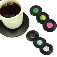 Wholesale Retro Vinyl Record Cup Coasters Table Decorative Silicone Black Coffee Drinks Cup Coasters Mat