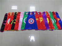 superhero capes - 2015 New superhero capes party favors customize logo Superman Spiderman Batman Captain America Ironman mono layer capes Kids Poncho