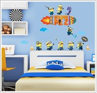 Wholesale DHL Free CM Minions For Wall Stickers Decorative Walls Decal Cartoon Wallpaper Kids Minion wall stickers gifts Wall Art