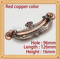 bedroom furniture handles - 10pcs Length mm Hole C C mm Zinc Alloy Kitchen Furniture Handle antique bedroom drawer handle Red copper color