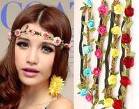 Wholesale 2015 Fashion Bride Bohemian Flower Headband Festival Wedding Floral Garland Hair Band Headwear Hair Accessories for Women
