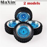 auto tire rims - 4pcs Rally Tires Electroplated Lacquered Auto Wheel mm Rim Hex Hub Mounted For HSP HPI RC Car Black Blue color