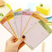Wholesale 1 Random Color Cute Cartoon Plan Schedule Check Stick Post It Bookmark Pads Sticky Notes