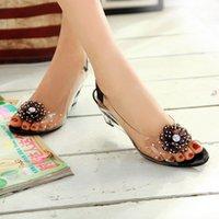 Wholesale Open Toe Women Sandals Hotsales Women s Shoes Sapato Feminino Transparent Crystal Flower Wedges High Heels Platform Sandals