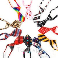 Wholesale 20pcs Fashion Polyester Silk Pet Dog Necktie Adjustable Handsome Bow Tie Necktie Grooming Supplies E003