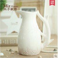 antler bone - Miz Home The Litter Prince Europe Country Style White Bone China Ceramic Antler Kettle