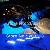 Wholesale 10sets in1 V Glow Decorative Auto Atmosphere Lamp Fashion x LED Blue Car Charge interior light Drop shipping