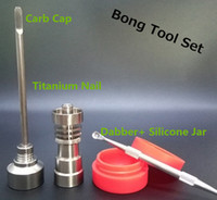 Wholesale Bong Tool Set Carb Cap T mm mm mm Domeless Gr2 Titanium Nail Dabber Slicone Jar Glass Bong Smoking Water Pipes