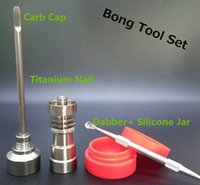 Wholesale Bong Tool Set Carb Cap T Domeless Gr2 Titanium Nail Dabber Slicone Jar Glass Bong Smoking Water Pipes