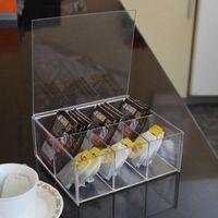acrylic tea box - 1604 New arrival transparent acrylic milk tea bag coffee bag desktop storage box