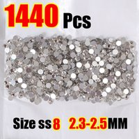 hot-fix for rhinestone - diamond AAAAA Luxury SS8 mm Crystal Clear White Flatback Grey Glue Strass Nail Art Rhinestones Hot Fix For Women Dress