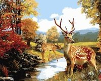 oil paint by numbers - Frameless Thick diy digital oil painting by numbers on canvas animal child deer painting by numbers kits unique gift home decor