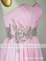 beaded high speed - Chaozhou factory direct high speed dress Bra toast pink dress beaded fold wedding dress