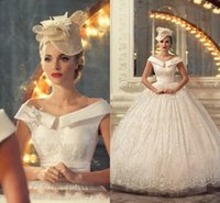 Cheap Arabic lace wedding dresses 2015 ball gown off-shoulder Applique lace white ivory wedding gowns floor length