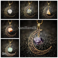 Wholesale Sailor Moon Necklace Sun And Moon Jewelry Ancient Bronze Natural Stone Crystal Amethyst Necklace Pendant For Women