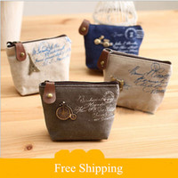 Wholesale 2015 new Women s canvas bag Coin keychain keys wallet Purse change pocket holder organize cosmetic makeup Sorter