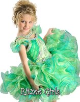 Cheap 2014 New Style Cute Little Girls Cupcake Pageant Cap sleeves Organza Mini Flower Girl Dresses