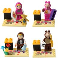 Cheap 6sets Masha and Bear Cartoon minifigures building blocks sets Educational & Enlighten DIY Toys birthday gifts for kids