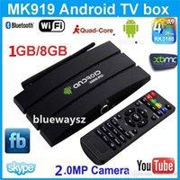 Wholesale XBMC IPTV SET TOP BOX MK919 Android TV Box MP Camera Quad core RK3188T Cortex A9 G RAM G Android Kitkat Free remote control P