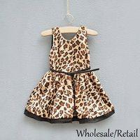 Wholesale Fashion Kid Girls Leopard Dresses Pleated Sundress Sleeveless Princess Tank Dress Summer Autumn Back V Neck Party Dress Satin Cloth SV014617