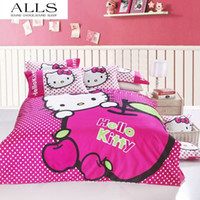 Wholesale 100 cotton cartoon bedding set hello kitty bed linen flannel duvet cover flat sheet pillow case king size queen size