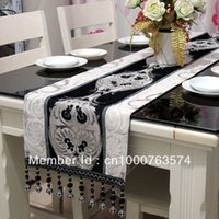 bamboo table runners - fashion luxury quality chenille jacquard silver pendants table runner bed flag coffee table flag33 cm