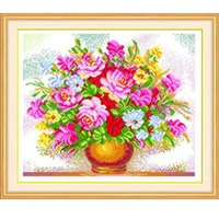 Wholesale Cotton Silk Pink Rose Flowers Cross Stitch Vase Oil Painting Cross stich Romantic Restaurant Living Room Dinning Bedroom Decor