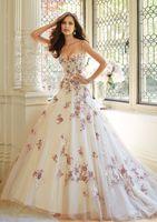 Nueva moda popular llegada A la línea de vestidos de novia spahetti correas tren corte sin respaldo nuevos colores flores frescas tules falda vestidos de novia