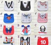 Wholesale Baby Tuxedo Gentleman Feeding Bibs Baby Kids Waterproof Superman Pinny Burp Cloths Designs for
