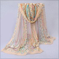Wholesale new chiffon georgette silk scarf women Bohemia long shawls Spring and Autumn cashew scarves and wraps sunscreen cape