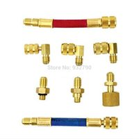 Wholesale 8pcs Manifold Gauge Brass Adapter Connector Set AC Brass Air Conditioning Adapters A C Freon For R R134A R12 Vehicle Systems order lt no