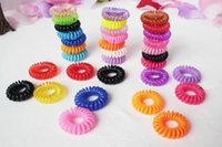 Wholesale 2014 Hot Candy Colored Telephone Line Elastic Hair Bands Hair ties Hair ring hair wear Hair Accessories Length cm Ms girl child
