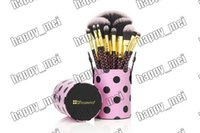 bh - Factory Direct Set New Makeup Brushes BH Cosmetics Pieces Brush With Cup Holder Case Black Pink