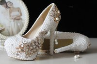 Cheap 2015 Glitter Cheap Wedding Shoes Pearls Crystals Beads Pumps Shoes Gold Rhinestone Lace High Heels Bridal Shoes 32316