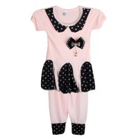 Wholesale 2015 Cotton Bow knot Dots Children Set for Girls Retail Summer Colorful Children Set Shirts and Pants Clothing Set Hight Quality