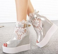 lace wedding shoes - New bud silk lace wedding shoes white heels bridesmaid wedding ankle boots with buckle silver wedges size to YL