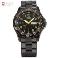 aries dating - Shark Army ARIES Series Auto Date Display Calendar Black Yellow Outdoor Stainless Male Clock Men Full Steel Sport Watch SAW092