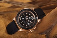 auto listing - 2015 New listing High quality Black face ceramic bezel Rose golden case Rubber band Automatic watch Mechanical Watch