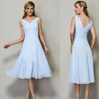 chiffon tea length bridesmaid dresses - Light Sky Blue Brodesmaid Dress A Line V Neck tea Length Chiffon Party Dress Hot Sale W5997