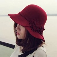 australian wine - Australian wool winter cap handmade flower Elegant Women Fedora hat wine red korean style for party holiday