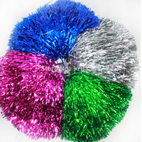Wholesale 50pcs Cheering pompom Metalic Pom Pom Cheerleading products colours ROH86
