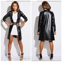 Wholesale 2015 Real Image Women Leather Long Coat Women Leather Jackets Outerwear Coats Women S Clothing Spring Leather Jackets Plus Size
