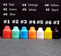 Wholesale 1000pcs Bottle Caps Dropper Tips Fit PE Soft Plastic Bottle E Liquid Colorful Childproof Bottle Caps and Long Thin Tip