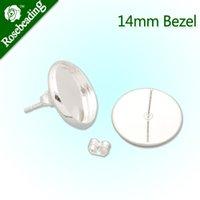 bezels - 14MM Silver plated stud earring earring bezels earring blank fit mm glass cabochon sold
