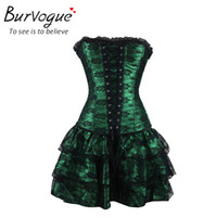 Wholesale Burvogue hot sale shapers green Red lace evening sexy women corset and bustier Plus Size Push up Gothic corset dress