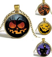 aerial man - Halloween Decorations Cartoon Necklace Chains Vintage Pumpkin Aerial Mammal House Glass Crystal Stone Pendant Necklaces For Women Men
